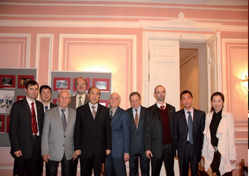 Consul General of China, Mr. Se Siaoyun and members of the Russian-Chinese Society at the celebration of the 63rd Anniversary of the People Republic of China at the House of Friendship. 2012.